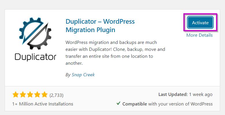 Activate Duplicator